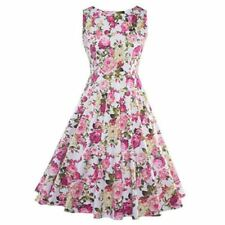 Women Floral Printed A Line O Neck Patchwork Pattern Sleeveless Dress ABI881