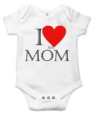 I love my mom, Cute Gift Baby Bodysuit By Apparel USA™
