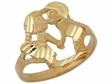 10k or 14k Yellow Gold Cute Adorable Trendy Love Couple Kissing Ladies Ring