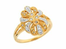 10k or 14k Two Tone Gold Pave Set White CZ Modern Design Wide Band Ladies Ring