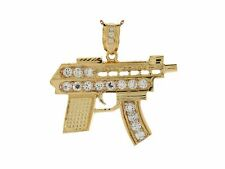10k or 14k Yellow Gold White CZ Machine Gun Charm Pendant