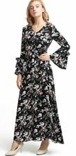 Women V Neck Black Color Floral Print Full Sleeve Floor Length Dress