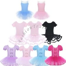 Girls Tutu Ballet Tulle Mesh Costume Gymnastics Dance Leotard Dancewear Dresses