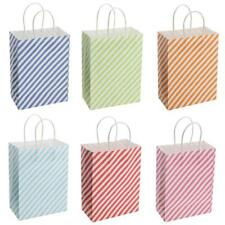12x Party Bags Paper Gift Bags with Handle Sideling Stripe Recyclable Loot Bags