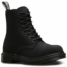 Dr.Martens 1460 8-Eyelet Mono Fur Lined Black Womens Leather Laced Combat Boots