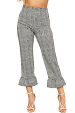 Womens Tartan Check Houndstooth Print Pants Ladies Ruffle Frill 3/4 Trousers