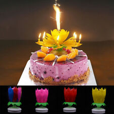 Cake Topper Birthday Decoration Lotus Flower Candle Blossom Musical Rotating