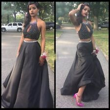 Two Piece Black Prom Dresses Halter Beaded Keyhole Front Prom Gowns Party Dress