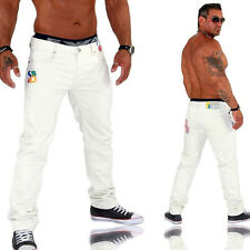 KOSMO LUPO K&M Men's Chinos Jeans Trousers Clubwear Top Design Slim Fit White KM