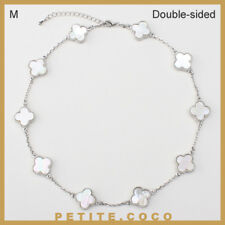 """Handmade 0.6"""" mother of pearl 10 four leaf clover silver short necklace"""