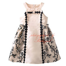 Girls Flower Embroidered A-line Dress Off Shoulder Pageant Party Wedding Holiday