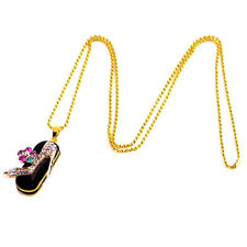 Shiny Diamond Crystal Shoes USB Flash Drive Swivel U Disk with Gold Necklace