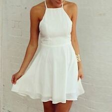 Backless White Color Spaghetti Strap Sleeveless Casual Mini Dress For Women