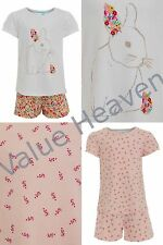 Girls 100% Cotton Pyjamas Ex Marks and Spencer White Rabbit Pink Floral M&S