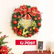 50cm Christmas Wreath+Led Lights Garland Hanging Door Wall Party Decoration AU