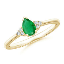 Pear Emerald Solitaire Ring With Trio Diamond Accents 14k Yellow Gold
