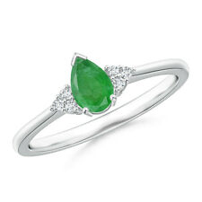 14k White Gold Pear Emerald Solitaire Ring With Trio Diamond Accents