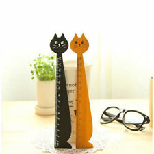 1PC Cute Cat Face Wood Sewing Measuring Ruler School Student Stationery EL