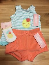 NWT Gymboree baby girl pineapple coral sock 4-piece outfit SET 0 3 6 month TWINS
