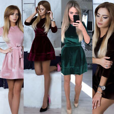 Fashion Women Evening Party Cocktail Clubwear Long Sleeve Slim Velvet Mini Dress