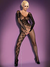 Sexy Long Sleeve Net Catsuit Open Crotch Crotchless Bodystocking Nylon