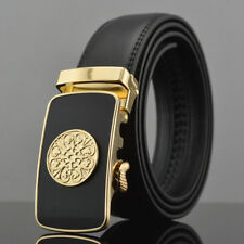 Gold Fashion Casual Mens Belt Genuine Leather Automatic Buckle Waistband Strap