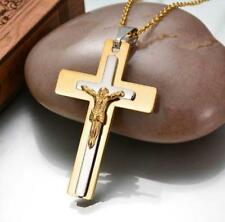 Mens Stainless Steel Pendant Necklace Jesus Christ Crucifix Cross Silver Gold