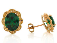 10k or 14k Yellow Gold Simulated Emerald Filigree May Birthstone Earrings