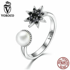 Voroco European 925 Sterling Silver Finger Ring Night Stars For Fashion Jewelry