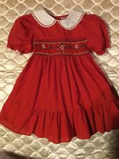 Vintage Girls Dress Winnie Pooh SEARS DISNEY Red Size 5 Smocked Christmas