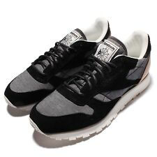 Reebok CL Leather Fleck Black Chalk Mens Casual Shoes Sneakers AQ9723