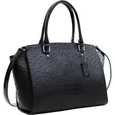 Dasein Faux Ostrich Leather Winged Satchel with Patent