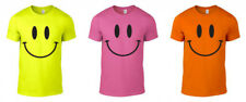 Smiley Face Printed Neon T-Shirt Rave Techno Funny 80s 90s Gift Unisex S-XXL