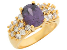10k or 14k Yellow Gold Oval Simulated Amethyst White CZ Sparkling Ladies Ring