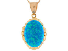 10k or 14k Yellow Gold Simulated Speckled Sea Blue Opal Ladies Charm Pendant