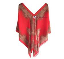 Red Paisley Kaftan Beach Top Loose Tunic Poncho Summer Beach Resort One size