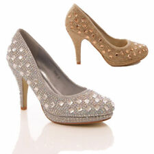 LADIES WOMENS DIAMANTE JEWEL HIGH HEEL COURT SHOES PARTY PROM EVENING SIZE 3-8
