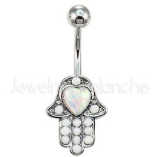 White Heart Opalite Hamsa Belly Ring, 316L Surgical Steel Banana Navel Ring 3091