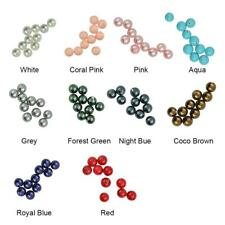 10Pcs Half Drilled Faux Pearl Shell Round Charm Loose Beads Jewelry Findings