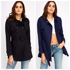 Womens Black Curve Double Breasted Belted Coat Button Pocket Collared Mac Jacket
