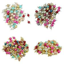 50pcs Eye Pin Fancy Glass Pearl Daisy Flower Cap Charms Spacer Loose Beads