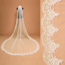 1-Layer 300cm Long Cathedral Wedding Bridal Bride Veil Lace edge with comb women