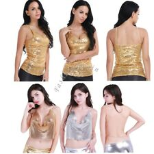 Sexy Womens Deep V Neck Strap Crop Top Sequin Bodycon Clubwear Tank Vest Blouse