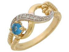 10k or 14k Two-Tone Gold Simulated Blue Zircon White CZ December Infinity Ring