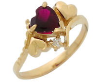 10k or 14k Yellow Gold Heart Simulated Garnet White CZ January Birthstone Ring