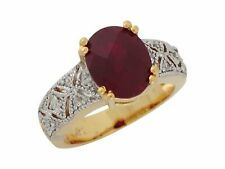 10k or 14k Two Tone Gold Simulated Garnet White CZ Graceful Design Ladies Ring