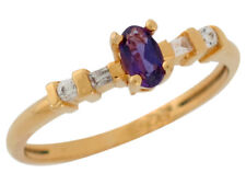 10k or 14k Yellow Gold Simulated Amethyst and White CZ Petite Cute Ladies Ring