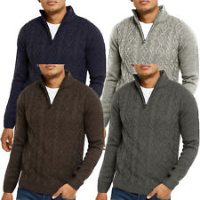 Mens Threadbare 1/4 Zip Neck Jumper Cable Knit Sweater Top Pullover Soft FURROW