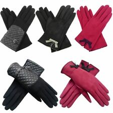 Ladies Womens New Suedette Faux Leather Quilted Panel Wool Gloves