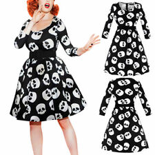 Gothic Skull 50s 60s Rockabilly Dress Pinup Swing Evening Party Punk Dresses